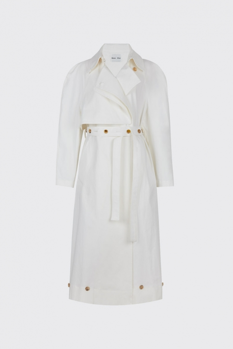 [60% OFF] White buttoned ruched waist trench coat