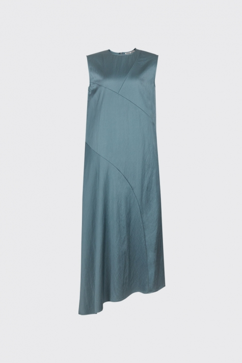 [55% OFF] Jade green asymmetrical cut satin dress
