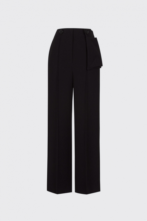 [55% OFF] Black buttoned waist pouch trousers