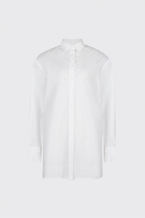 [50% OFF]White overlapped double plackets shirt