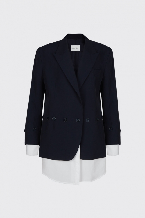 [40% OFF] Navy buttoned shirt blazer