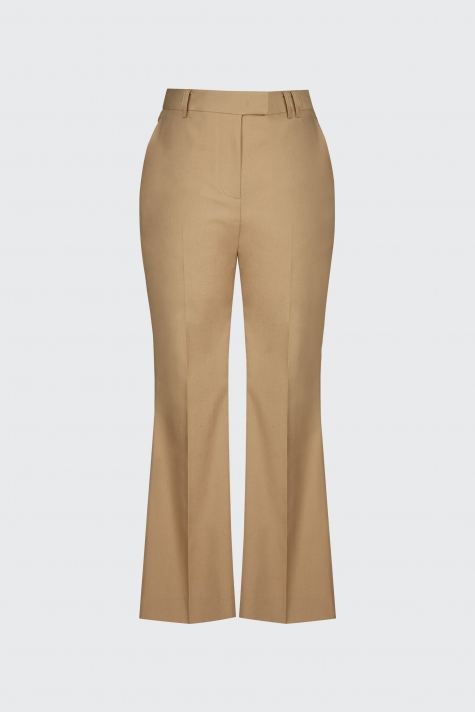 [55% OFF]Sand linen cropped flare trousers
