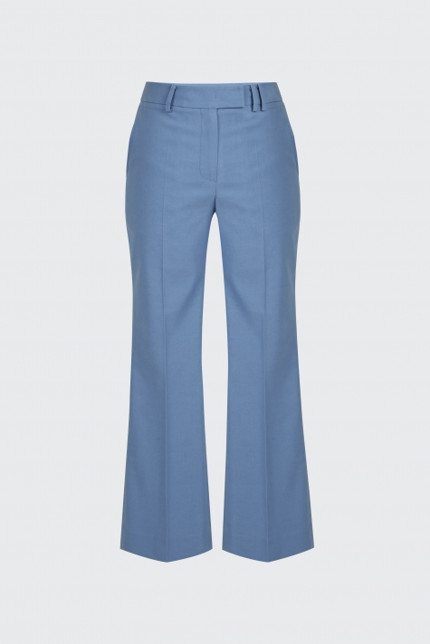[55% OFF]Light blue linen cropped flare trousers