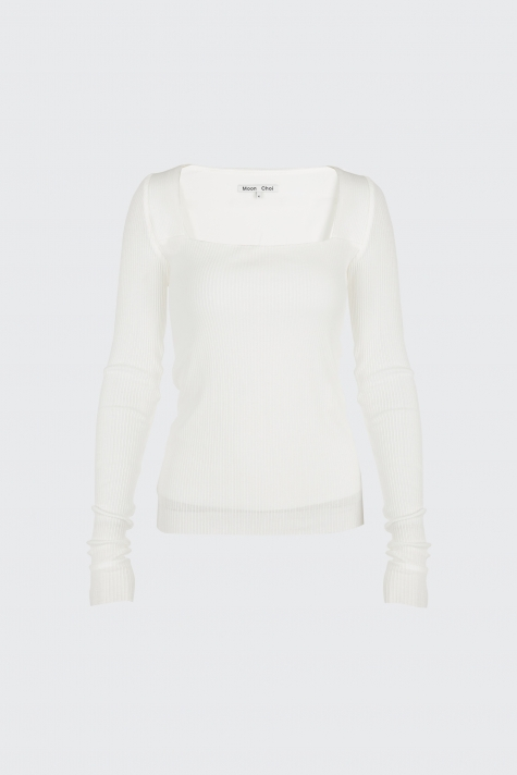 [Sold-out]White square neck knit top