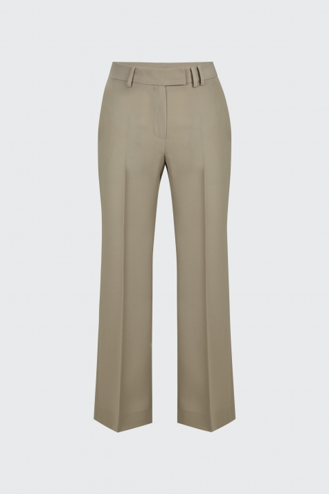 [55% OFF]Taupe cropped flow flare trousers